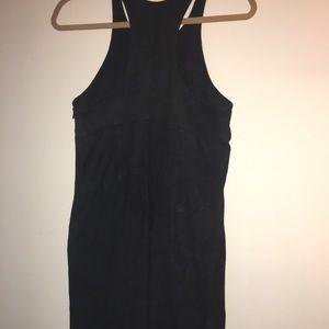 Black Suede Alexander Wang T-strap dress.